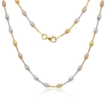 - Sterling Silver Tri-Color Diamond Cut Oval Moon Bead Chain Necklace