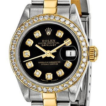 : Pre-Owned Independently Certified Rolex Ladies Datejust Two-Tone Steel/18ky with Black Diamond Dial, Diamond Bezel, and Oyster Band