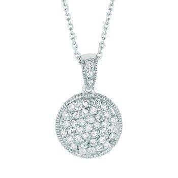 "14k White Gold 1.02ctw. Diamond Round Circle Pendant 18"" Chain Necklace"