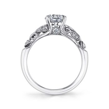 - One-of-a-kind Vintage-Inspired Romantic Leaf Pattern Solitiare Diamond Accented Semi-Mount Engagement Ring