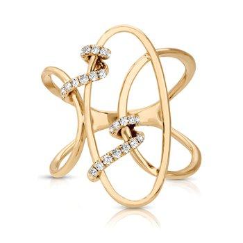 1/6ct. Diamond 14k Yellow Gold Freeform Right Hand Ring