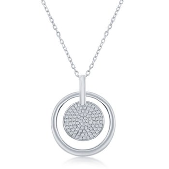 Sterling Silver Micro Pave Set CZ Disc Circle Pendant Chain Necklace
