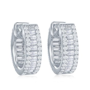 Sterling Silver 4x15mm Small Hinged Huggie/Hoop Earrings