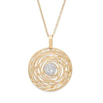 - 1/8ct. Diamond Multi Swirl Filigree Circle 14k Gold Pendant Chain Necklace