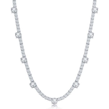 Sterling Silver 3mm & 6mm Round CZ Station Tennis Necklace and Tennis Bracelet Set
