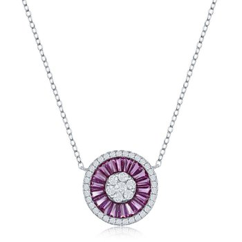 Sterling Silver White Round CZ and Pink Baguette CZ Circle Chain Necklace