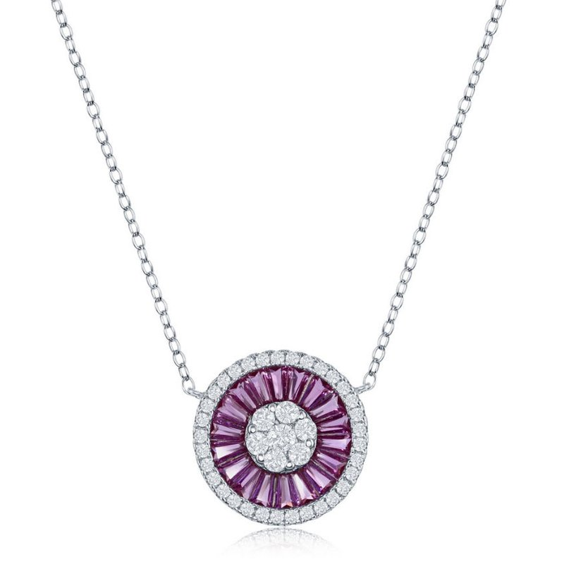 Fashion Jewelry Collection Sterling Silver White Round CZ and Pink Baguette CZ Circle Chain Necklace