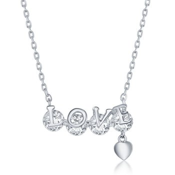 Sterling Silver 'LOVE' Rotating CZ Heart Charm Chain Necklace