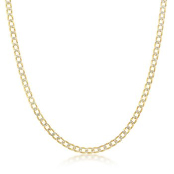 - Sterling Silver Two-Tone 14k Yellow Gold Plated 3mm Pave Cuban Chain Necklace
