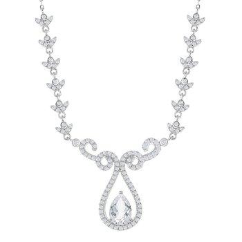 "- Bellissima Sterling Silver 3.95ctw. White Topaz Gemstones Teardrop Bridal Necklace - 17"""