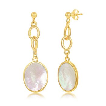- Simona Sterling Silver 14k Yellow Gold Plated Oval Mother-of-Pearl Link Chain Earring Pair