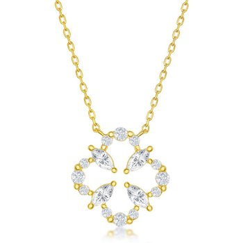 Sterling Silver Flower Design CZ Chain Necklace and Earrings Set
