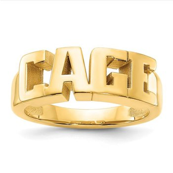 14k Gold Polished Personalized 5mm Name Band Ring for Women