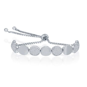 Sterling Silver Alternating Round Polished and Pave CZ Adjustable Bolo Chain Bracelet