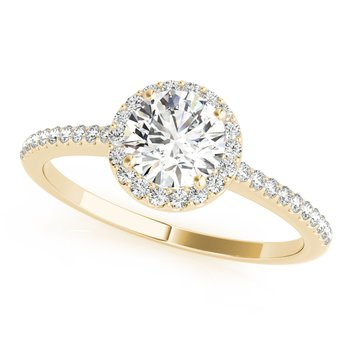 Round Diamond Accented Halo Engagement Ring
