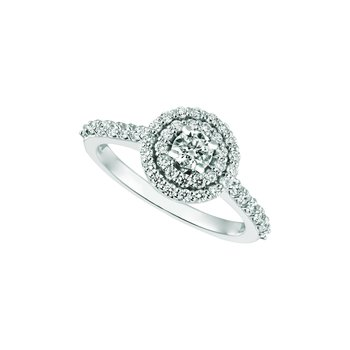 14K White Gold 1.26ctw. Diamond Solitaire Double-Halo Accented Engagement Wedding Ring Set