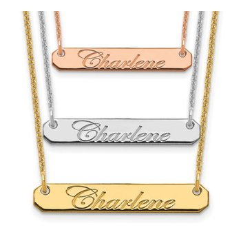 """14k Gold Personalized Nameplate Beveled Name Bar with 18""""x1mm Cable Chain Necklace"""