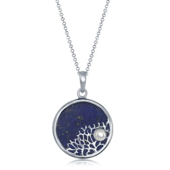 - Sterling Silver Lapis with Tree Branch with Small Pearl Round Pendant with Chain