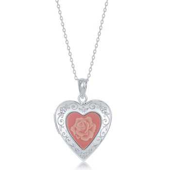 Sterling Silver Pink Stone Flower Cameo Heart Locket Pendant Chain Necklace