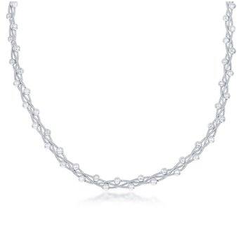"""- Sterling Silver Braided Beaded Snake Chain Necklace - 18"""""""