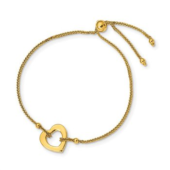 14k Yellow Gold Heart Adjustable Chain Bracelet - Made in Italy