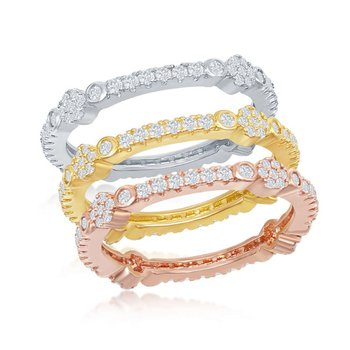 Sterling Silver 14k Gold Plated Tri-Color Round CZ Eternity Stackable Triple Ring Band