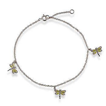 - Sterling Silver Butterfly CHarms Chain Anklet - 9""