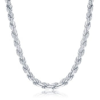 - Sterling Silver Diamond-Cut 5mm Rope Chain Necklace for Men