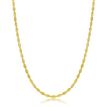 - Sterling Silver 14k Yellow Gold Plated 2mm Oval Moon-Cut Chain Necklace