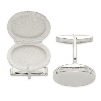 Sterling Silver Oval Engravable Personalized Locket Cuff Links