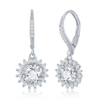 Sterling Silver White Round Halo Flower CZ Stones Leverback Earring Pair
