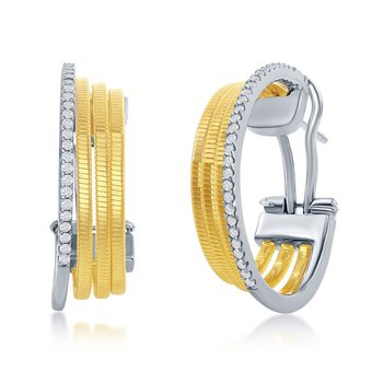 Sterling Silver 14k Yellow Gold Plated CZ Stones Huggie Earring Pair
