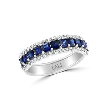 - 14k White Gold Diamond Accented Blue Sapphire Anniversary Band Ring