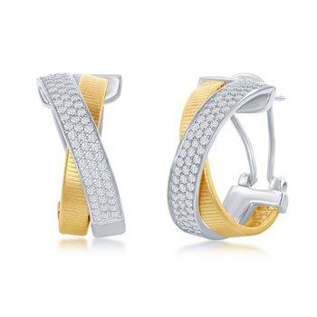 - Italian Collection White CZ Stones Sterling Silver w/14k Gold Plated Huggie Omega Clip Earring Pair