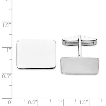 14k White Solid Gold Polished 19.5x15mm Rectangle Plain Engravable Personalized Men's Cuff Links