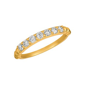 14k Gold 0.50ctw. Diamond 7-Stone Beaded Band Ring