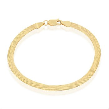 - Sterling Silver 14k Yellow Gold Plated 4mm Herringbone Bracelet/Necklace