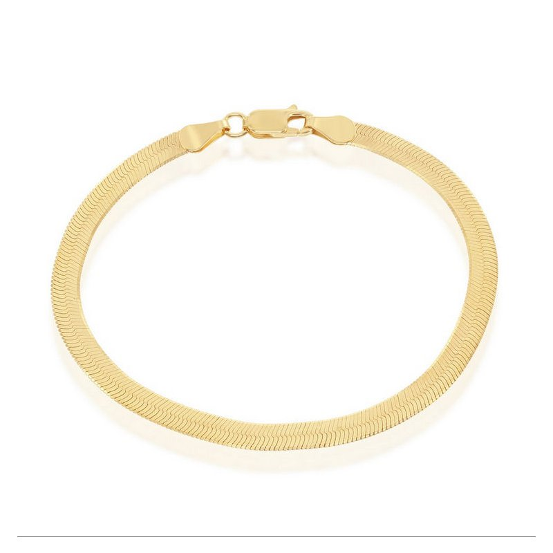 Fashion Jewelry Collection  - Sterling Silver 14k Yellow Gold Plated 4mm Herringbone Bracelet/Necklace