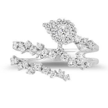 - 14k White Gold Diamond Fancy Floral Leaf Spiral Snake Design Cocktail Ring