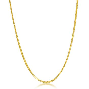 - Sterling Silver 14k Yellow Gold Plated 1.5mm Franco Chain Necklace for Men