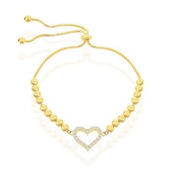 Sterling Silver CZ Heart Beaded Adjustable Bolo Bracelet
