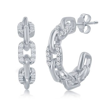 Sterling Silver Paper Clip Style with CZ Stones 18mm Open Hoop Earrings Pair