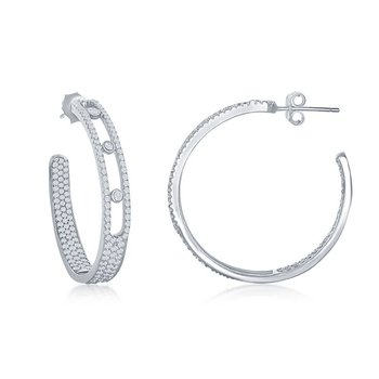 Sterling Silver 5x31mm Inside-Out Pave and Bezel-Set CZ Open J Hoop Earrings