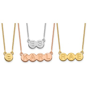 """14k Gold Personalized 1 to 9 Letter Horizontal Bubble 18""""x1mm Cable Chain Necklace"""