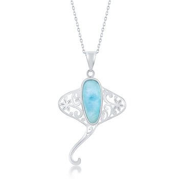 - Caribbean Treasures Sterling Silver Larimar Gemstone Stingray Sea Ray Pendant