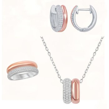 Sterling Silver 14k Rose Gold Plated Micro Pave CZ Double Oval Pendant and Hoop Earrings and Ring Set