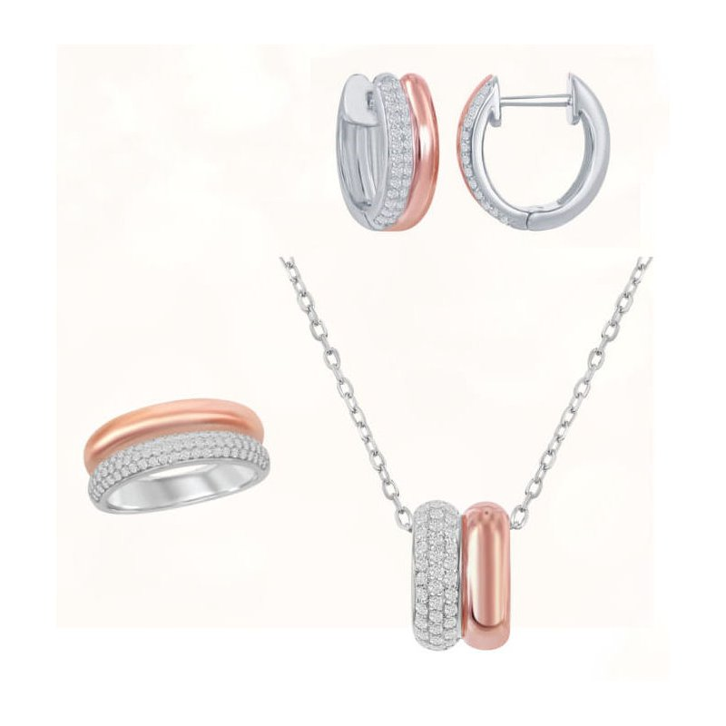 Fashion Jewelry Collection Sterling Silver 14k Rose Gold Plated Micro Pave CZ Double Oval Pendant and Hoop Earrings and Ring Set