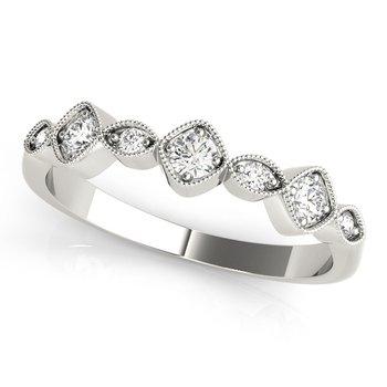 1/5ctw. Diamond Anniversary Wedding Stackable Milgrain Ring Band