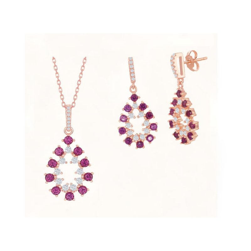 Fashion Jewelry Collection Sterling Silver 14k Rose Gold Plated with Color CZ Pear Shaped Dangle/Drop Earrings and Pendant Set