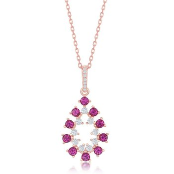 Sterling Silver 14k Rose Gold Plated with Color CZ Pear Shaped Dangle/Drop Earrings and Pendant Set